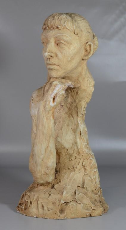 Agnes Yarnall (American, 1904-1998), plaster bust of a man with head on hand, dated  1953, 22