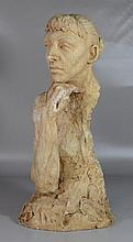 """Agnes Yarnall (American, 1904-1998), plaster bust of a man with head on hand, dated 1953, 22"""" h"""