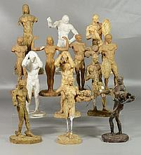 """Agnes Yarnall (American, 1904-1998), plaster, 13 classical full figure nudes, typically 12"""" high, some damage to several"""