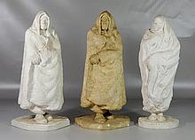 Agnes Yarnall (American, 1904-1998), plaster, Three figural sculptures: two caped men and one veiled woman, one sculpture stained,...