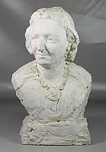 """Agnes Yarnall (American, 1904-1998), plaster, bust of a woman Signed to base, Height 21"""""""