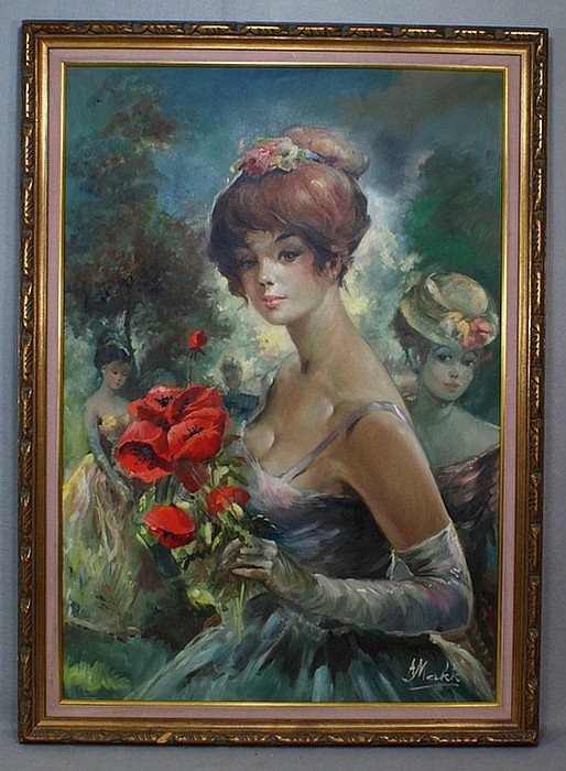 Large oil on canvas by Americo Makk, b 1927 Hungary, young girl with poppies and other ladies, 38 1/2