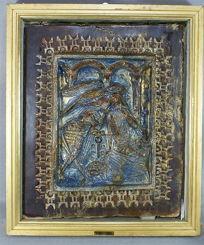 Angelo Biancini, 1911-1988, Attributed to, pottery tile, Angel with Mary?, unsigned, with brass tag,