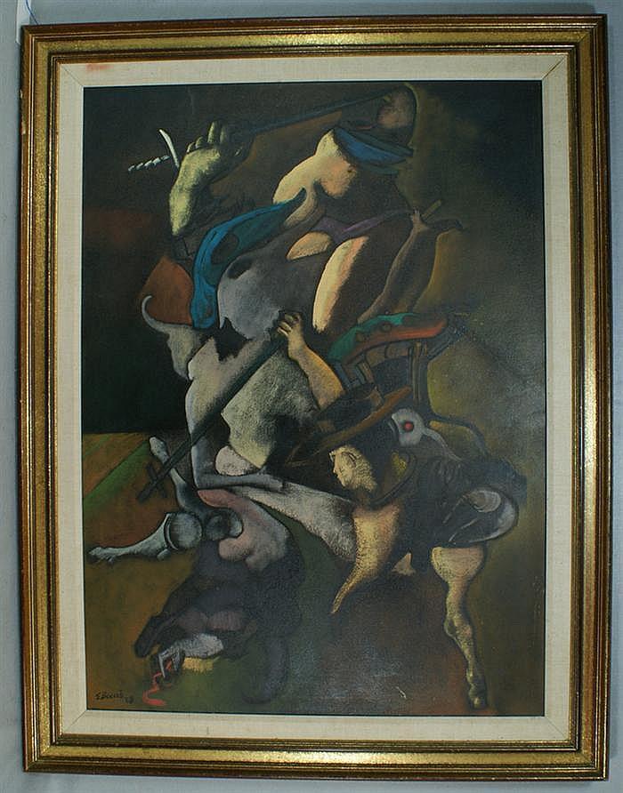 Edward Eugene Boccia, American/MO, b 1921, o/c, The Bullfight, 43