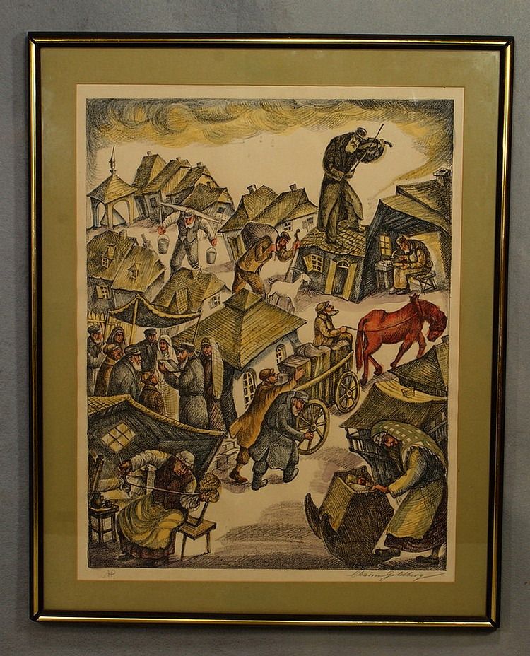 Chaim Goldberg, Polish, 1917-2004, color lithograph, Fiddler on the Roof, signed and inscribed 'A.P.' in pencil, very good condition.