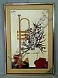 2 o/b stylized musical instruments and flowers, signed Harry Dunn, mid century, approx 27 1/4