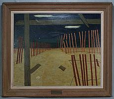 """Arthur Flory, American, NJ, 1914-1972, o/c, Fence Movements, 30"""" x 36"""", Newark Museum Exhibition tag from 1952 verso, also a brass ..."""