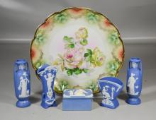 6 Pieces German Porcelain, to include: 5 Blue and White Jasperware pieces; 2 vases, box (extensive damage with missing piece) and a ...