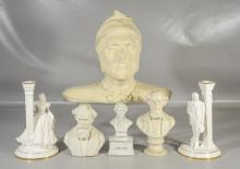 Six (6) pieces to include a composition bust of Dante in as is condition, 2 Parian busts of Charles Dickens (one missing its base), ...