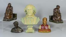 Five (5) pieces to include a composition bust of Shakespeare, 2 busts of Dante, and a pair of spelter monks reading bookends, talles...