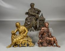 Three (3) spelter clock toppers of 2 gentlemen and a lady, tallest 9