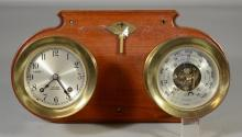 Chelsea ship's clock and barometer, both mounted on wooden plaque, glass to barometer cracked, each piece 4 3/4