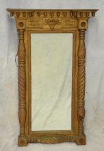 American Empire gilt grsso & wood mirror with basket of fruit at crest, acorn gallery and turned columns, 45 1/2
