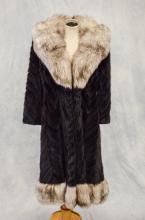Herringbone fur coat with fox collar & trim from Zinman Furs, size small