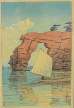 Kawase Hasui (1883–1957), Zaimoku Island, Matsushima, Woodblock print; ink and color on paper, From the series Collection of Scenic ...