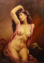 M Behman, Contemporary Oil painting of Female Nude, signed M Behman NY 1973, oil on canvas, 40