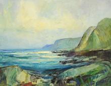 "Anton H Dahl (Swedish American, 1894 - 1967), Oil on Canvas, ""Davenport Landing"" California, signed ""Anton Dahl 66"" lower right, mea..."
