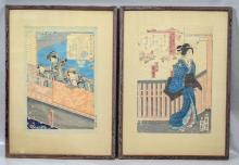 Pair of 19th century Japanese Woodblock prints, mounted on silk boards, not inspected out of frame, sight size 14-3/8