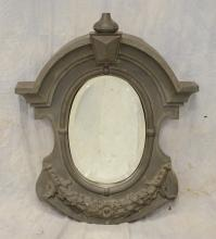 Continental metal mirror, possibly zinc, garrett window covering converted to a mirror, 35