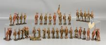 40 Pieces of vintage mostly Lineol WWI composition toy soldiers, tallest 6 1/2