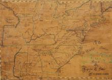 Hand drawn map on paper laid down on linen,
