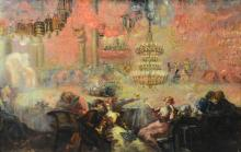Continental, possibly French, 19th century oil on canvas of café scene with Chinese lanterns and couple toasting, unsigned, sight si...