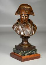 French bronze bust of Napoleon on stepped wood & marble base, signed Pinedo, with medallion that reads