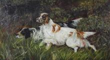 Oil on canvas of two Brittany Spaniels, indistinctly signed and dated lower left, period gilt frame, sight size 9 3/4