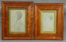 2 Portrait drawings, c 1820, identified as Moravian, in period birds-eye maple frames with gilt liners, largest 8