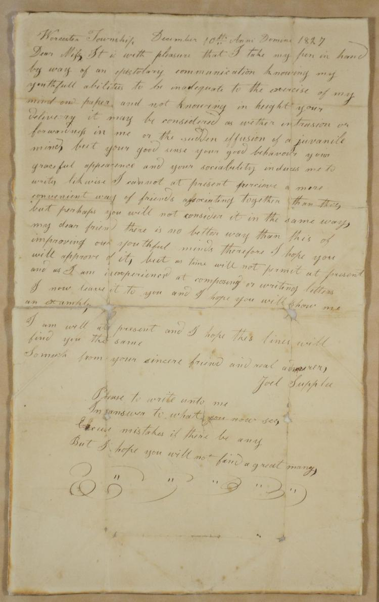 1827 Handwritten Love Letter From Joel Supplee To Phoebe Wet