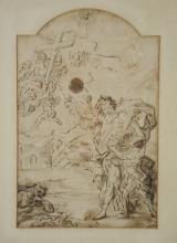 Old Master School, 17th/18th c, ink and wash on paper, Ascension of Angels with Figure perhaps of Christ, double sided with figural ...