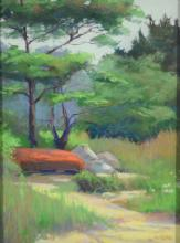 Jean Hirons, American, MA, 20th c, pastel, Orange Canoe, gilt framed, sight size 11 1/2