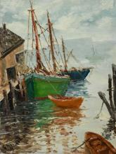 Caesare Ricciardi (1892-1973), active in Pennsylvania and Italy, oil on board of boats in the harbor, signed lower left, sight size ...