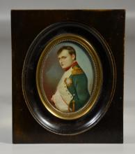 Oval miniature portrait of Napoleon on ivory, 19th c, signed Gerard, 6