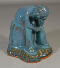 Contemporary blue glazed seated figure, signature to base, 8-3/4