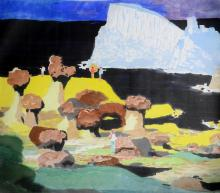 """Pai-Sui Ma (Taiwanese, 1909-2003) watercolor painting """"Yeh-Lui Coast"""", watercolor on paper, signed and dated 1970, bears artist's re.."""