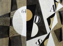 Seymour Zayon (American, PA, b 1930), abstract mixed media with stock exchange listings, signed center bottom, 8-1/2