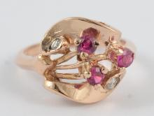 14K Gold retro rose gold, ruby & diamond ring, size 5 3/4, 2.8 DWT