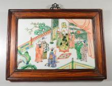 Chinese Famille Verte Porcelain Plaque in original frame, Mandarin scenes; plaque is 10
