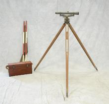 Vintage Warren Knight Co Surveying Precision Instrument, possibly Transit Surveying Scope, number 18010, with original case, a tripo...