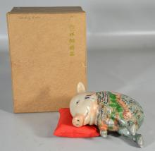 Chinese Pottery Pig with pillow and original box, marked on the tag