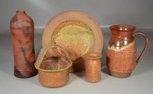 Five (5) pieces signed art pottery, pitcher & bottle signed Lipkin, others signed illegibly,  tallest 12