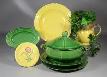 Seven (7) pieces Pierre Deux pottery, including pitcher with artificial ivy, covered casserole with fruit finial, 2 serving bowls, r...