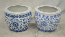 Pair of blue & white floral decorated porcelain Chinese fishbowls, 12