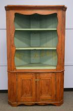 Open Front Corner Cupboard, 2 sections, top with 3 shelves and base with 3 doors, 84-/2