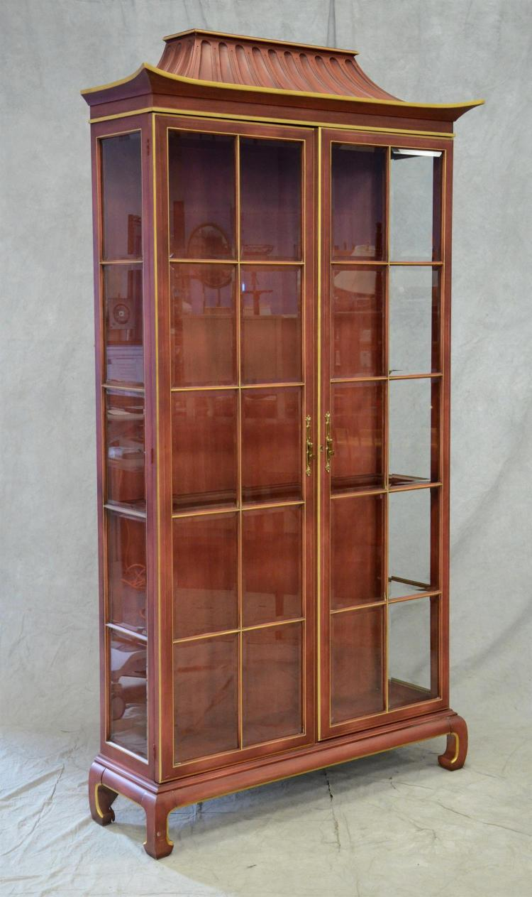 Pagoda Style Display Case Lighted On Top And Bottom Red Pa