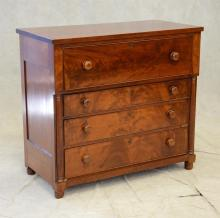 American Empire Butler's Chest and Desk, fall front over 3 drawers and half columns either side, fitted interior, 39