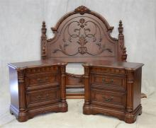 Three Piece Chris Madden Bedroom Set to include a full size carved headboard and footboard, together with a pair of chests, all  mar...