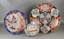 Three (3) Pieces Japanese Imari Porcelain, including 2 chargers & bowl, bird & floral decoration, largest 18-1/2