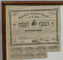 1863 Confederate States of America Loan Certificate, signed by the Secretary of the Treasury, 17-1/4